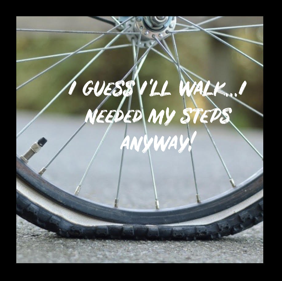 When life doesn't go as planned, you adjust. Getting a flat tire means you walk!